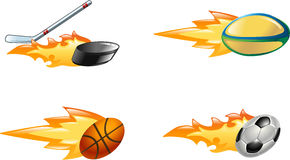 Shiny flaming sport icons. A glossy shiny flaming sport icon set. Rugby ball, ice hockey stick striking puck, basketball ball and soccer or football ball zooming Stock Photography