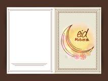 Shiny floral decorated greeting card for Eid Mubarak celebration Royalty Free Stock Photos