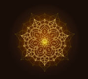 Shiny floral mandala background with gold glitter texture Royalty Free Stock Photography