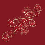 Shiny floral ornament in goden color. Stock Photography