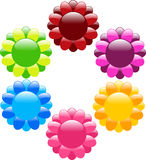 Shiny flower web buttons Stock Photography