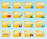 Shiny folder icons set. For web design Stock Images