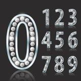 Shiny font of diamond vector illustration. Luxury number set.  Royalty Free Stock Photography