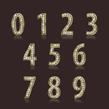 Shiny font of gold and diamond vector illustration. Luxury number set Stock Photo