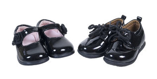 Shiny Formal Baby Shoes for Boys and Girls Stock Photo