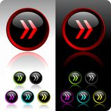 Shiny forward button set. With six color variation Stock Images