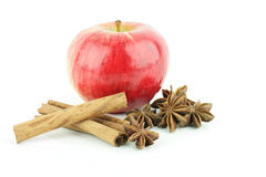 Red apple. A shiny fresh red Elstar apple (Malus domestica) with cinnamon and star anise, on a white background royalty free stock photos