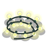 Shiny garland with flashing yellow lights Royalty Free Stock Photo