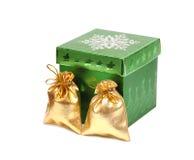 Shiny gift bags and christmas box Stock Photography