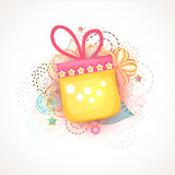 Shiny gift for Islamic festival, Eid Mubarak celebration. Muslim community festival, Eid Mubarak celebration with shiny gift box on floral design decorated Stock Photos