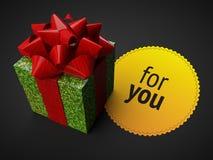 Shiny giftbox ribbon yellow badge dark background render Royalty Free Stock Photo