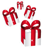 Shiny gifts. With large red bow falling. Vector illustration Stock Photo
