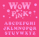 Shiny, glazed pink alphabet design. Melting font. Stock Images
