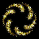 Shiny glitter frame. Gold glitter frame on a black background. Spiral of golden star dust. Abstract vector illustration Stock Images