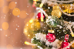 Shiny and glittering decorative ornaments on Christmas tree Royalty Free Stock Images