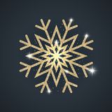 Shiny glittering golden abstract snowflake. Shiny glittering golden snowflake made of abstract spangles. Merry Christmas background for your invitation or Royalty Free Stock Photography