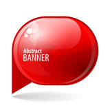 Shiny gloss red 3d banner. Vector illustration Stock Photo