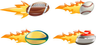 Shiny glossy flame sport icons Royalty Free Stock Photo