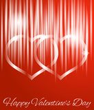 Glowing Abstract Hearts on Red with Happy Valentine`s Day Greeting. Shiny glossy hearts made of glass Stock Illustration