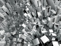 Shiny glossy metal cubic crystal abstract background  rendering Stock Image