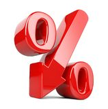 Shiny and glossy percent symbol with arrow down. Сoncept of the. Decline of the crisis and stagnation in development. 3d illustration isolated over white Royalty Free Stock Images