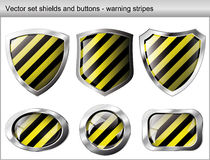 Shiny and glossy shield and button stock illustration