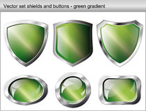Shiny and glossy shield and button green vector illustration