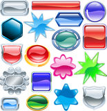 Shiny glossy web shields and backgrounds. Background colourful web design elements ready for you to add messages or icons. No blends or meshes used Royalty Free Stock Photography