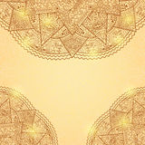 Shiny Gold Brown Invitation Card with Lace Mandala Decoration Stock Images