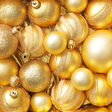 Shiny Gold Christmas Ornaments royalty free stock images