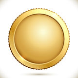 Shiny gold coin. Isolated on a white background. Vector illustration of golden blank label stock illustration