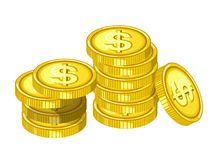 Shiny gold coins with engraved dollar signs drops from above in piles isolated cartoon flat vector illustration. On white background. Money made of precious Royalty Free Stock Image