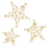 Shiny gold color stars from little snowflakes winter or christmas theme decoration eps10 Stock Image