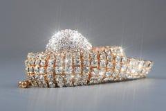 Shiny Gold Diamond Ring and Bracelet Macro Royalty Free Stock Photo