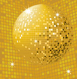 Shiny gold disco ball. Party background with glowing lights and disco ball Royalty Free Stock Photography