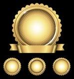 Shiny Gold Emblem & Seals Stock Photography
