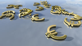 Shiny gold Euro money signs. 3d rendering. 3d rendering of a set of Euro signs. An image of gold shiny money signs laying on a bright background Royalty Free Stock Photography