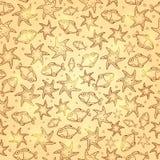 Shiny Gold Fish Seamless Cartoon Pattern. Shiny Gold Fish Seamless Hand Drawn Pattern. Marine Vector Illustration of Sea Life Stock Photography