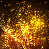 Shiny gold glittering light particles. Twinkling golden stars with transparent background. Shimmering light sparks and sparkles luminous glare spray. Vector Royalty Free Stock Photography