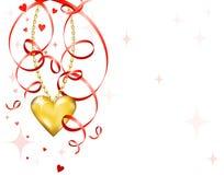 Shiny gold heart Stock Image