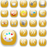 Shiny Gold Icons, Digital Media Art Set Royalty Free Stock Images