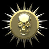 Shiny gold metal skull on matte golden plate with   spikes around,isolated  black, pirates crest. render Stock Images
