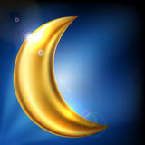 Shiny gold moon Stock Photo