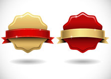 Shiny Gold and Red Wax Seals with Banner Stock Images