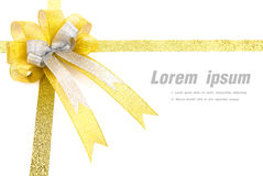 Shiny gold ribbon on white background Stock Photo