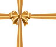 Shiny gold satin ribbon Royalty Free Stock Images