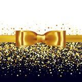 Shiny gold satin ribbon on white background Royalty Free Stock Photography