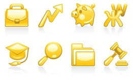 Shiny gold set of business icons Royalty Free Stock Photography