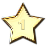 Shiny Gold Star. With number one Stock Images