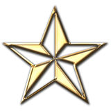 Shiny Gold Star. Christmas star Royalty Free Stock Photo